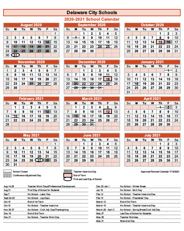 2020 2021 school calendar / 2020 2021 school calendar